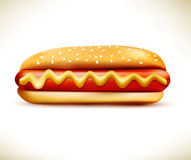 Vector bun with sausage (hot dog)  on a white background Stock Photos