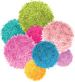 Vector Bunch of Colorful Baby Kids Birthday Party Pom Poms Element. Great for handmade cards, invitations, wallpaper. Packaging, nursery designs. Home decor stock illustration