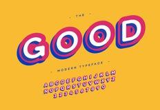 Vector bunte Art der guten Typografie des Schriftbildes 3d mutigen Stock Abbildung