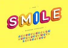 Vector bunte Art der mutigen Typografie des Lächelngusses 3d Stock Abbildung