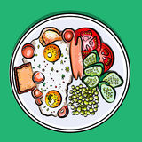 Vector bunte Illustration englisches Frühstück auf Eiern einer Platte, Wurst, Tomate, Gurken, Erbse, Toast Lizenzfreie Stockbilder