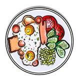 Vector bunte Illustration englisches Frühstück auf Eiern einer Platte, Wurst, Tomate, Gurken, Erbse, Toast Stockbilder