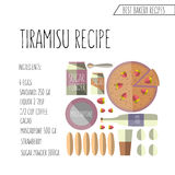 Vector bunte Illustration flachen Designart Tiramisu recip Stockfoto