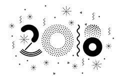 Vector bunte Illustration 2018, frohe Weihnachten und neues Jahr Stockfotos