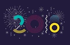 Vector bunte Illustration 2018, frohe Weihnachten und neues Jahr Lizenzfreie Stockfotografie