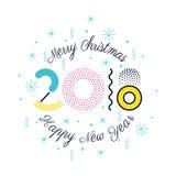 Vector bunte Illustration 2018, frohe Weihnachten und neues Jahr Stockbild