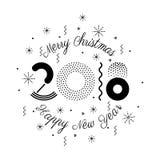 Vector bunte Illustration 2018, frohe Weihnachten und neues Jahr Lizenzfreie Stockbilder
