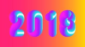 Vector bunte Illustration 2018, frohe Weihnachten und neues Jahr Lizenzfreies Stockfoto