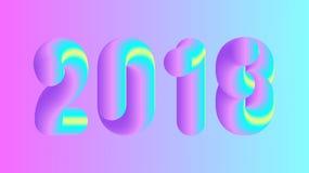 Vector bunte Illustration 2018, frohe Weihnachten und neues Jahr Lizenzfreies Stockbild