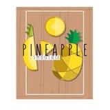 Vector bunte Illustration von Ananasscheiben im flachen Design Stockfotos