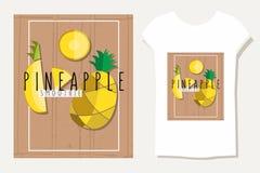 Vector bunte Illustration von Ananasscheiben im flachen Design Stockbilder