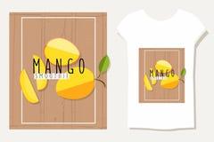 Vector bunte Illustration von Mangoscheiben in flachem Design styl Stockfotografie