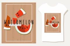 Vector bunte Illustration von Wassermelonenscheiben im flachen Design Lizenzfreie Stockfotografie