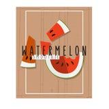 Vector bunte Illustration von Wassermelonenscheiben im flachen Design Stockbild