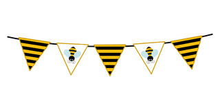 Vector Bunting with Cartoon Bee and Striped Pattern. Flags vector illustration Royalty Free Stock Photo