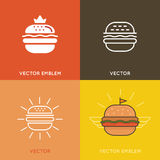 Vector burger logo design elements Royalty Free Stock Photography