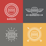 Vector burger logo design elements in linear style Royalty Free Stock Photo