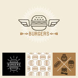 Vector burger logo design elements and package template Royalty Free Stock Photography