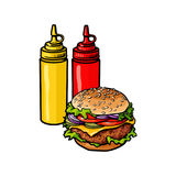 Vector burger sketch isolated illustration Stock Photography