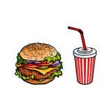 Vector burger, soft drink cup sketch set  Stock Images