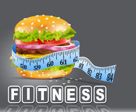 Vector burger wrapped in measuring tape. On a gray background Stock Images