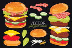 Vector burgers  on black background. Stock Images