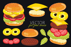 Vector burgers  on black background. Royalty Free Stock Photo
