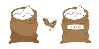 Vector burlap sack filled out with white flour vector illustration