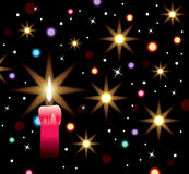 Vector burning candle with lights and stars. Vector winter holiday illustration of burning candle with lights and stars Royalty Free Stock Images