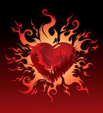 Vector. Burning heart Stock Photography