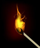 Vector burning match. With fire flame. Isolation over black background Stock Images