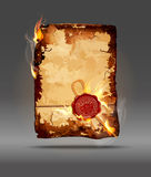 Vector burning parchment with wax seal. The Vector burning parchment with wax seal Stock Image