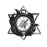 Vector Burning Time Watch. Burning Time Watch. Vector Illustration of Ink Concept. Hand Drawn Sketch Stock Image