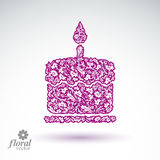 Vector burning wax candle, flower-patterned illustration of a tw Stock Image