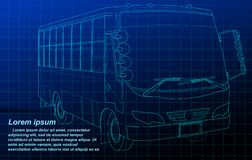 Bus outline on blue background. royalty free illustration