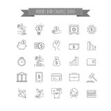 Vector busines, money and finance thin line icon set Stock Photography