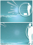 Vector Business background. With businessman and diagramm in blue for cover and inside pages vector illustration