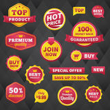 Vector business badge labels set on dark background Stock Images
