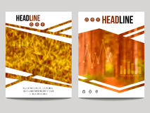 Vector business brochure design template with blur background and geometrical shapes. Can be used for presentation, web, flyer layout, elements for magazine Stock Photo