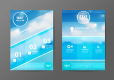 Vector business brochure flyer design layout template in A4 size. Business brochure flyer design layout template in A4 size, With blurred of blue sea and clouds Stock Images