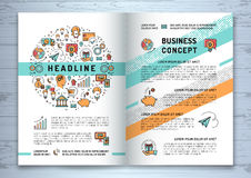 Vector business brochure template A4 size, line art icons royalty free illustration