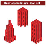 Vector business buildings - created of cubes Royalty Free Stock Photography