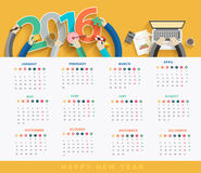 Vector business calendar 2016. Business calendar 2016, Flat design concepts analysis and planning, consulting, team work, project management plan, brainstorming royalty free illustration