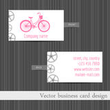 Vector business card. Business card template with touring bikes. Stock Images