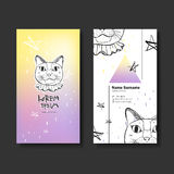 Vector business card design of hand drawn cat Stock Photo
