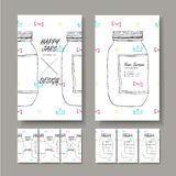 Vector business card design of hand drawn jar Royalty Free Stock Image