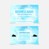 Vector business card design template. Abstract modern polygonal blue business cards with clouds Stock Photos
