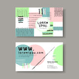 Vector business card design template of hand drawn Royalty Free Stock Photos