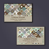Vector Business card Design Template with Ornamental geometric mandala pattern. Vintage decorative elements. Hand drawn tile backg. Round. Islam, Arabic, Indian royalty free illustration