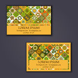 Vector Business card Design Template with Ornamental geometric mandala pattern. Vintage decorative elements. Hand drawn tile backg. Round. Islam, Arabic, Indian Stock Photography